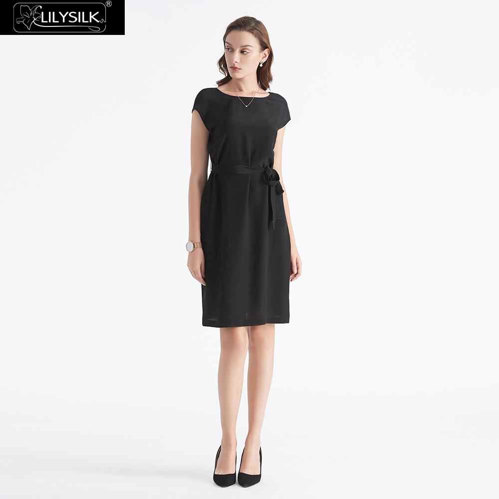LilySilk Dress Little Black Silk Basic Wearable Front and Back Ladies Free  Shipping 0a47ef5089d4