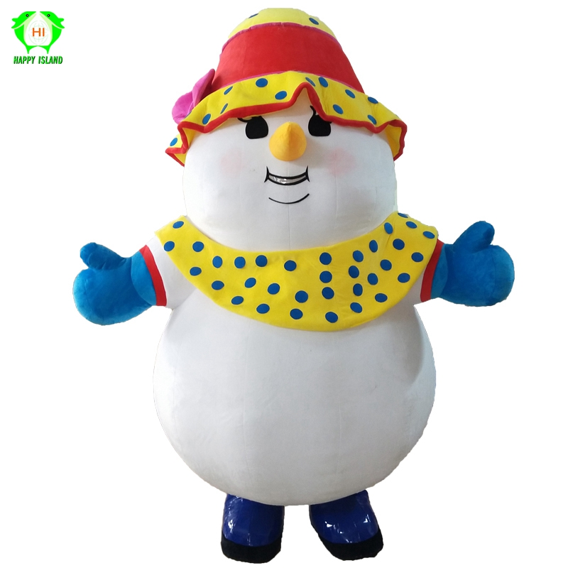 Christmas Cartoon Snowman Inflatable Mascot Costumes 2.6M Tall for 1.7M to 1.9M Adult Santa Party Cosplay Costume Men Customized