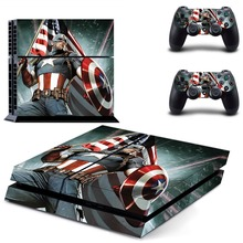 PS4 Skin Sticker Captain America Cove Decal for Playstation 4 Console System & 2 Controllers Protective Skins