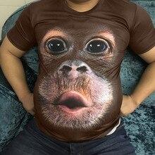 Забавные мужские летние футболки с 3D принтом обезьяны, с круглым вырезом, облегающая футболка с коротким рукавом, топы, Мужская одежда, camiseta poleras hombre