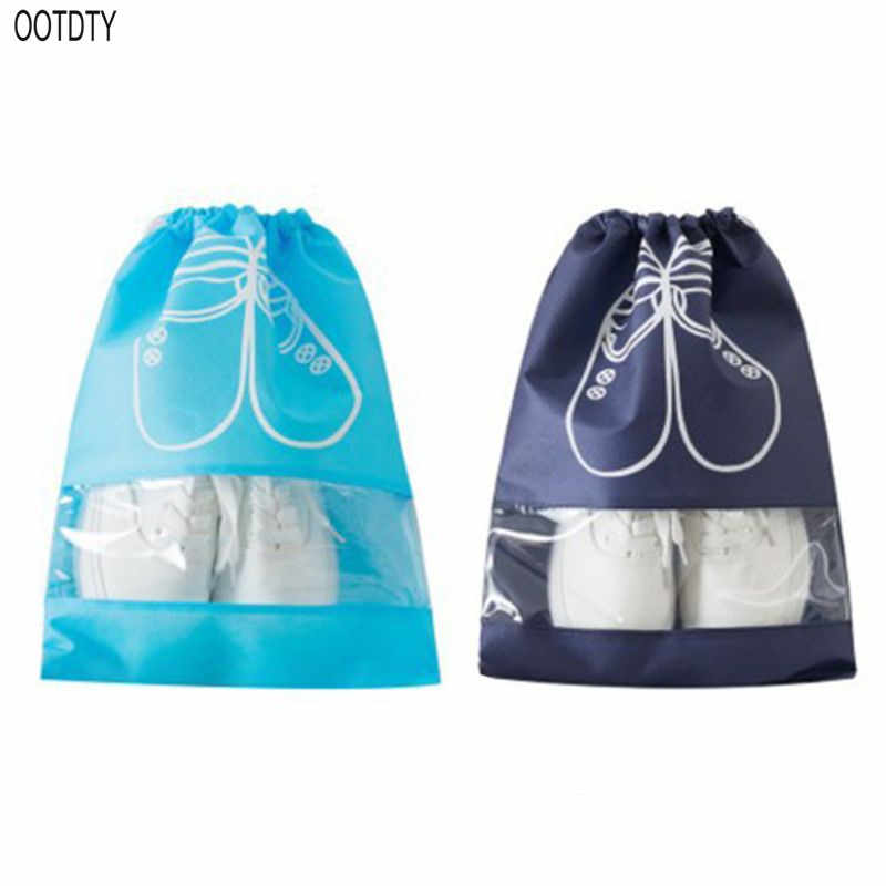 2 Sizes Large Waterproof Shoes Storage Bag Pouch Travel Portable Tote Drawstring Non-Woven Packing Organizer Dustproof Cover War