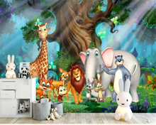 beibehang Custom 3d wallpaper mural 3D Cartoon Forest Giraffe Elephant Animal World Childrens Room carta da parati