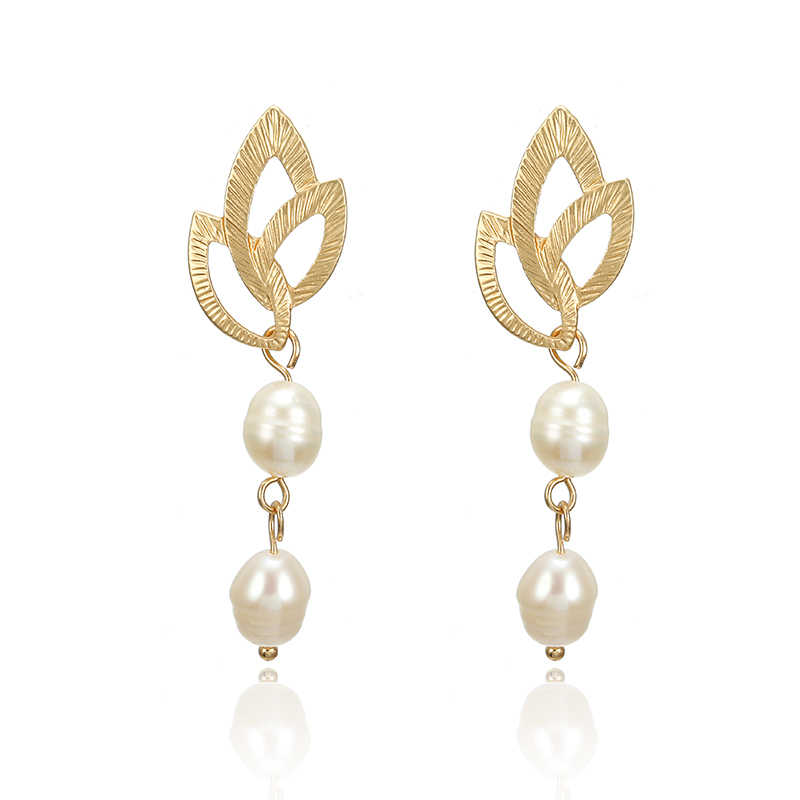 F37 Modern Women's Drop Earrings 2019 Irregular Special-shaped Gold Pearl Earrings Drop Earrings Fashion Jewelry Gift