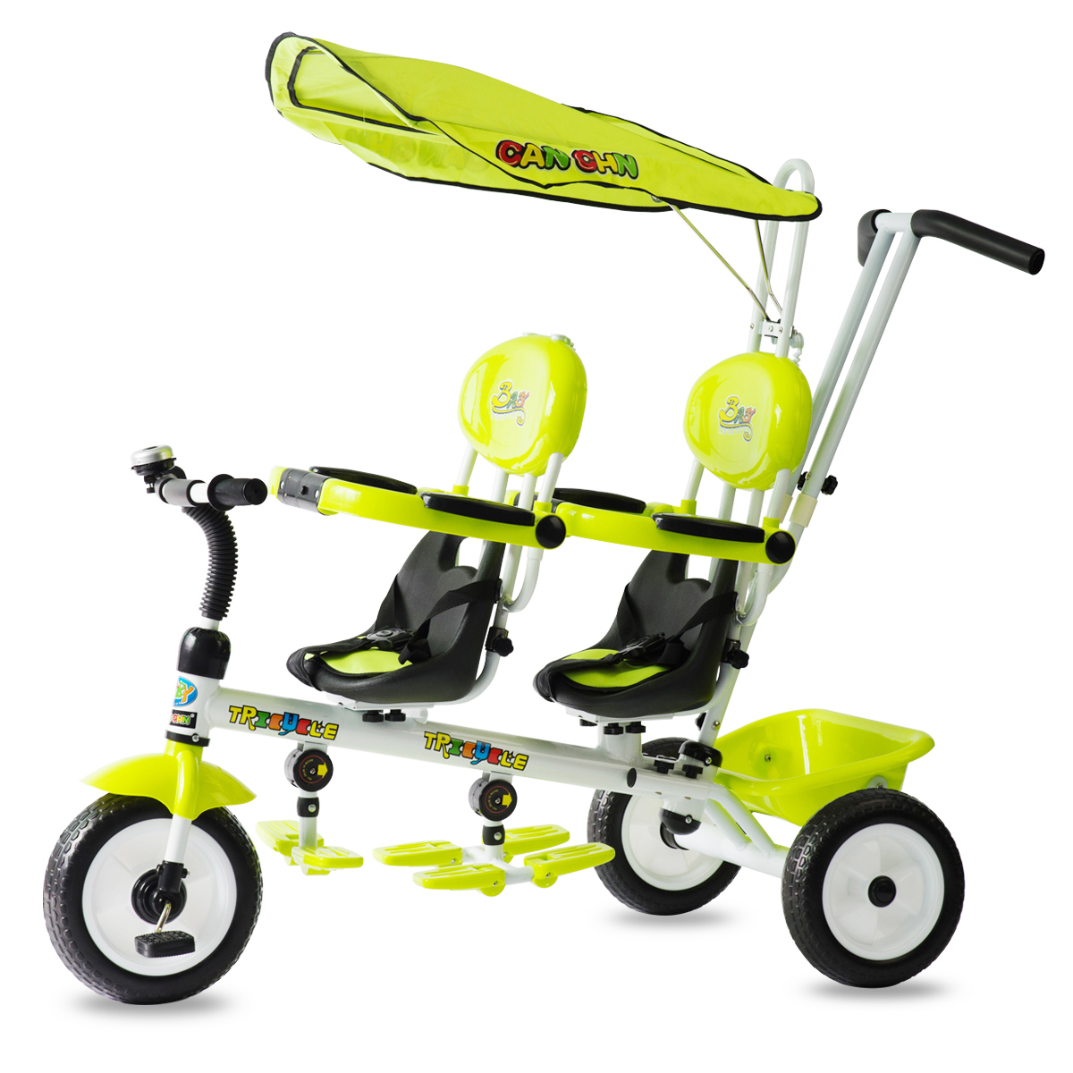 Twin child tricycle front seat rotatable two-wheeled bike double two-seater baby trolley three wheel with two seater twin dolls kang pedal three wheeled cart with awning four in one function