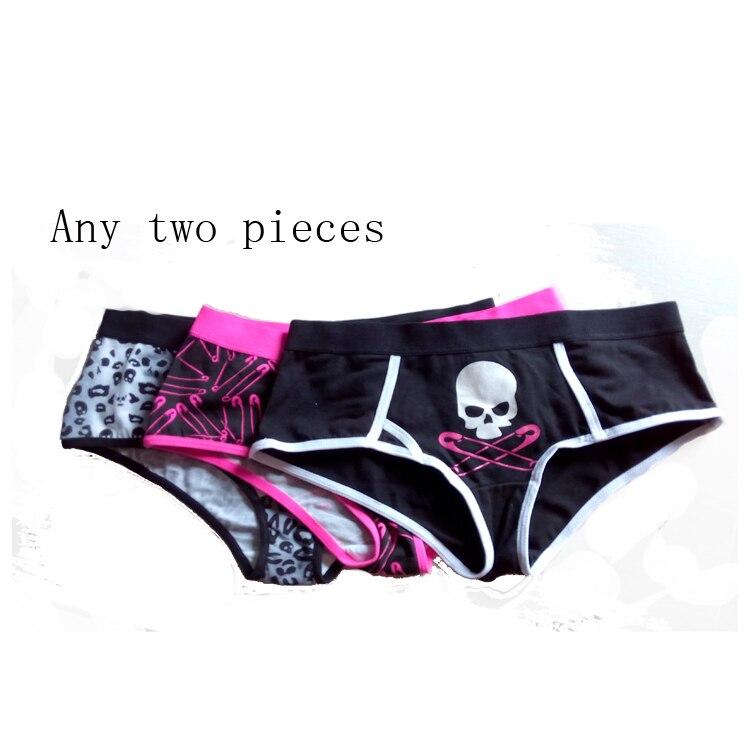 100% Cotton Women Panties Skull Pattern Printed Underwear Black / Rose red M LXL XXL