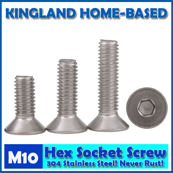 M10 DIN7991 Hexagon Hex Socket Countersunk Flat Head Cap Screws 304 Stainless Steel DIY Home Maintain Matel Working m4 din7991 hexagon hex socket countersunk flat head cap screws 304 stainless steel diy home maintain matel working