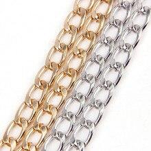 Металлическое разноцветное плоское византийское ожерелье, витые цепи, панцирные цепи, оптом, подходят для браслетов, открытая цепочка для изготовления ювелирных изделий своими руками
