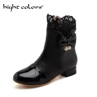 2019 New Short Boots Sweet Bow Lace Pu Leather Boot For Women Black White Lolita Soft Sister Student Female Riding Boots