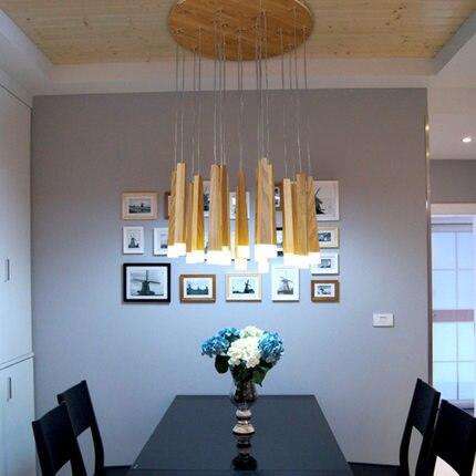 ФОТО A1 Designer art personality creative simplicity restaurant Nordic LED single head solid wood long stick match pendant lights