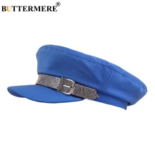 цена на BUTTERMERE Newsboy Cap Women Cotton Blue Flat Top Cap Female Fashion Rhinestone Solid Duckbill Hat Ladies Spring Beret Hat 2019