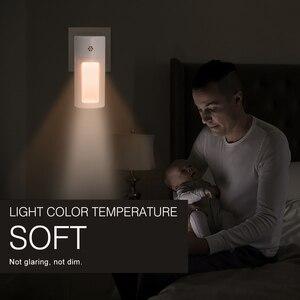 Image 5 - Boruit Plug In Sensor Led Nachtlampje Warm White Night Lamp Voor Slaapkamer Babykamer Sensor Gang Trap Licht eu/Us/Uk Plug