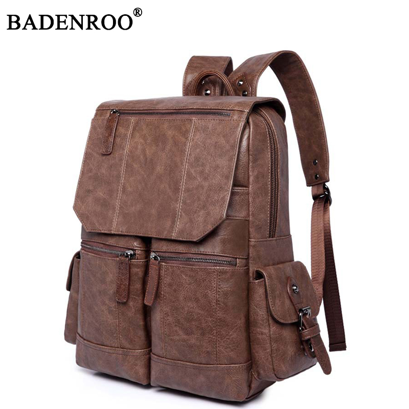 2019 Men PU Leather Backpack High Quality Youth Travel School Book Bag Waterproof Men Laptop Business