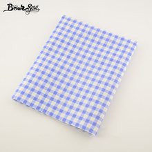 Booksew Light Blue Checks Home Textile Cotton Linen Fabric Sewing Material  Tissu For Tablecloth Pillow Bag Curtain Cushion CM