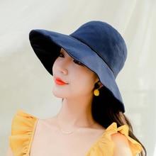 Bucket Hat Wide Brim Summer for Women Solid Plain Packable Fishing Ladies Fisherman Cap Anti-UV Sun