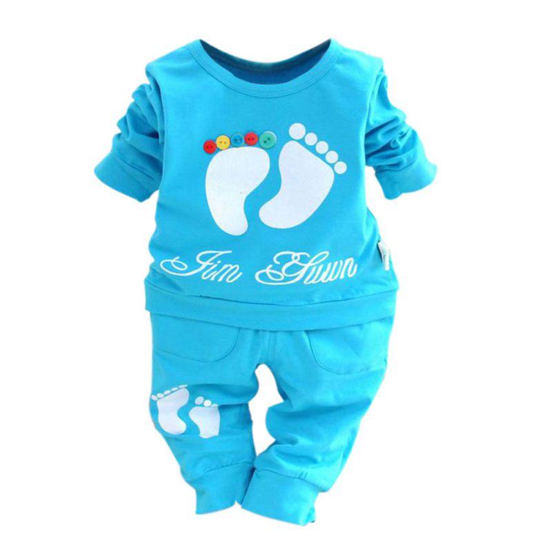 Autumn Baby Boys Girls Dress Feet Print Long Sleeve T-shirt+Pants Outfits Summer Clothes Set Cuit Seeing Fress