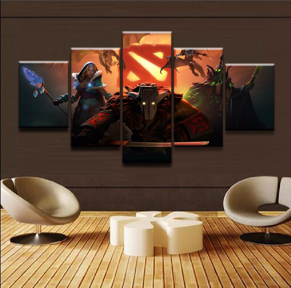 Modern Painting Frame Art Poster 5 Panel DOTA 2 Fantasy Pudge Type Wall Modular Picture Home Decor Print On Canvas For Boys Room