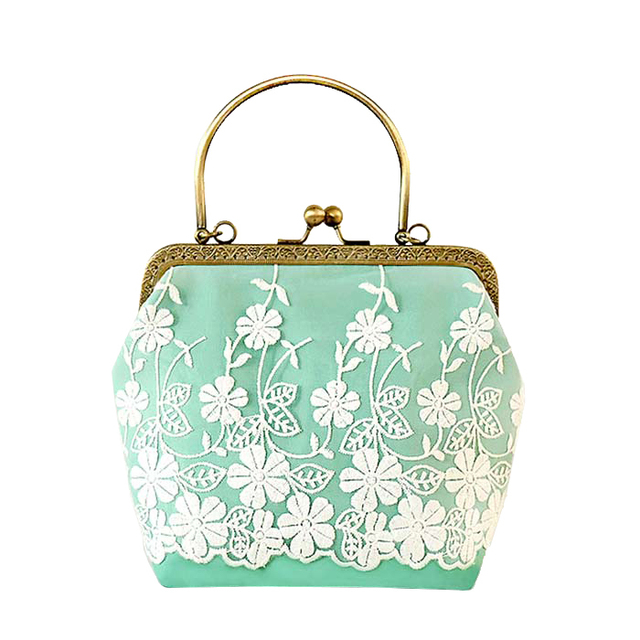 2017new Fashion Mini Mint Green Lace Women Messenger Bagswoman Chain Shoulder Crossbody Bags Femininas Bag