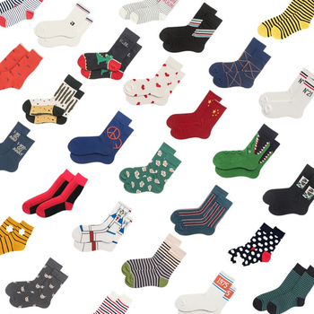 Men's socks Women funny casual striped digital letters cartoon pattern cotton socks happy socks trend wild fashion cute socks striped trim socks