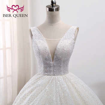 2019 New Arrival Crystal Beading Arab Dubai Quality Wedding Dress Sleeveless Plus Size Pattern Lace Wedding Dresses WX0009 - DISCOUNT ITEM  33% OFF All Category