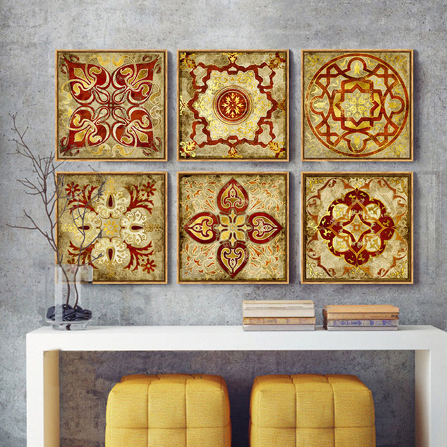 4 Piece Canvas Art Moroccan Style Gold National Decoration Pattern India  Home Decor Painting Canvas Pictures For Living Room