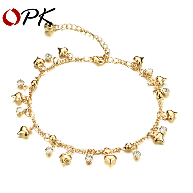 Romantic Heart Pendant Woman Anklets New Fashion Gold Color Heart Women Beach Ankle Jewelry Cubic Zirconia Bracelet KZ736
