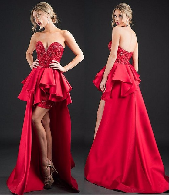 d96f0ee5e2035 Red Satin High Low Prom Dresses 2017 Appliques Beaded Backless Prom Gown  Sweetheart Off Shoulder Vestido De Festa
