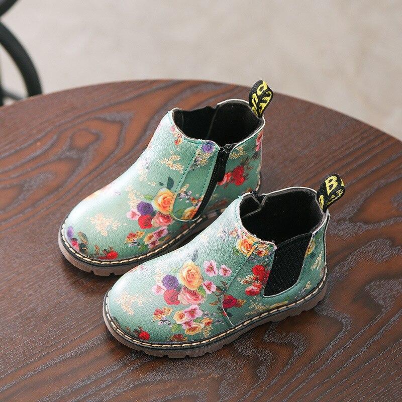 Botas de meninas 2018 Nova Cópia Da Flor De Outono Moda Martin botas calçados infantis para a menina botas quentes crianças botas de neve criança sapatos
