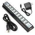 Caliente-venta Negro EE.UU. Plug 18.8x3.8x2.2cm10 Puerto Hi-Speed USB 2.0 Hub Para PC Portátil Tablet Para Macbook Adaptador de Ordenador 1 unid