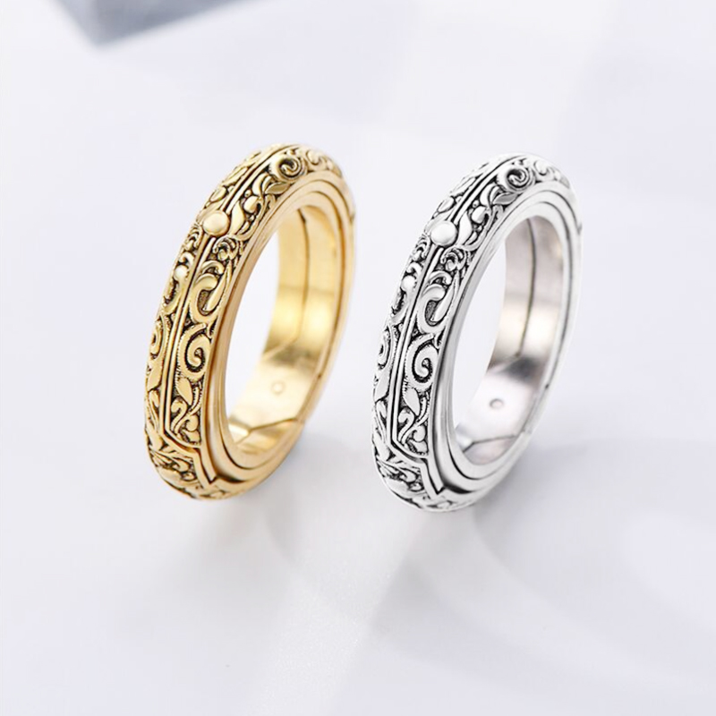 Silver Astronomical Ring for men women metal ball Creative Complex Rotating Cosmic Finger mood ring men