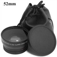 0.45x52mm 52 Balıkgözü Geniş Açı Makro Dönüşüm Geniş Açılı Lens Çantası 62mm Cap Nikon d5000 D5100 D3100 D7000 D3200 D90 1 adet