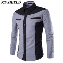 Autumn new Fashion Long sleeved Men Shirts Tops Slim fit Casual Men Shirt Patchwork Brand Formal Business Dress Male Shirt