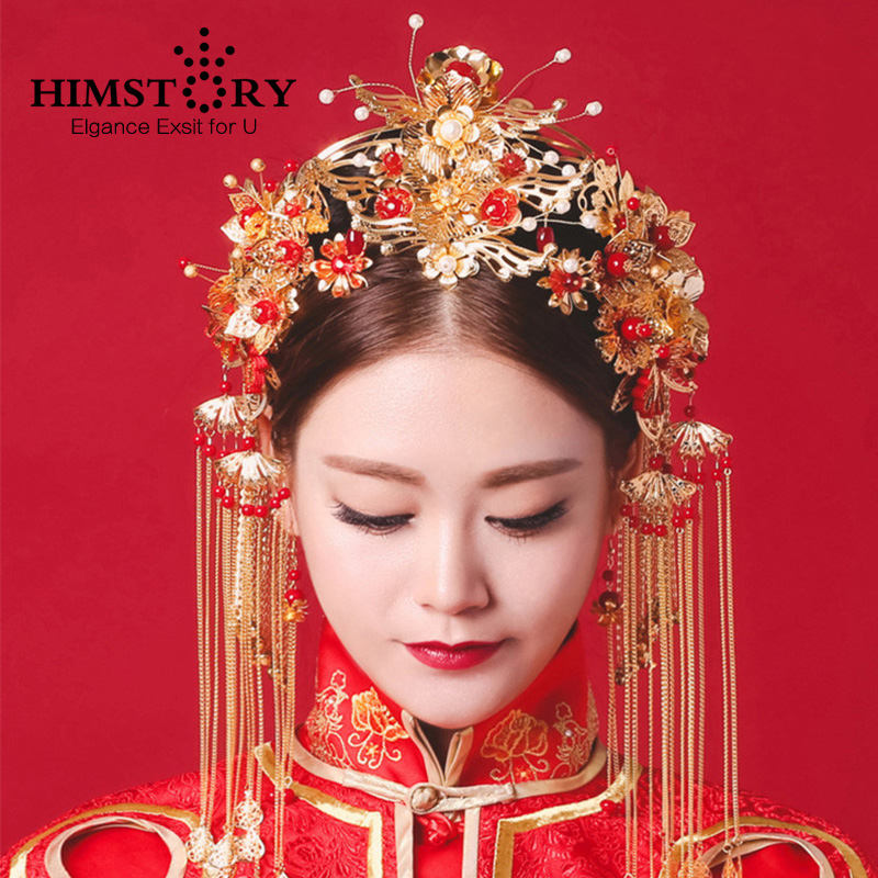 HIMSTORY Vintage Chinese Traditional Wedding Hair Jewelry Adorn Hair Accessories Queen Hairpin Pageant Phoneix Coronet Hairwear все цены