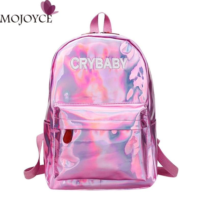 2018 Street Preppy Men/Women Backpacks High-grade PU Leather Hologram Laser Boy Girl Shoulder Schoolbags Travel Backpack New