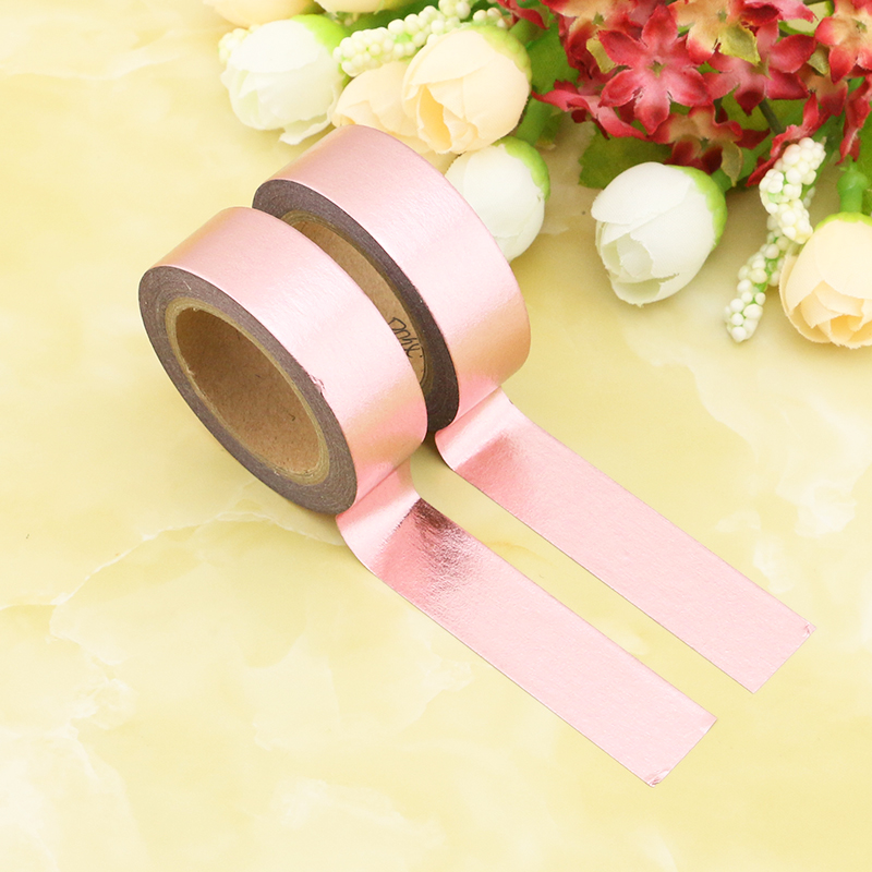 2PCS/lot 10m/roll Rose Gold Solid Foil Washi Tapes DIY Decoration Scrapbook Planner Masking Tape Adhesive Kawaii Stationery