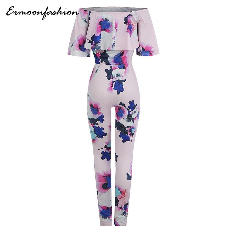 2018 Spring Autumn Fashion Women Jumpsuits Print Ruffles Buhemian Half Sleeve Plus Size Casual Women Jumpsuits