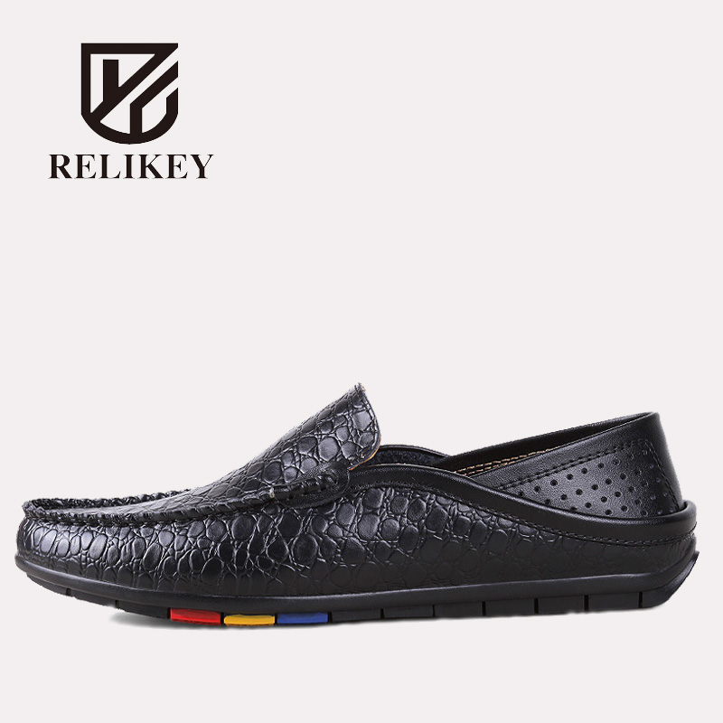 RELIKEY Brand Men Driving Genuine Leather Crocodile Style Causal Male Loafers Classics Summer Slip-On Breathable Men Shoes desai brand italian style full grain leather crocodile design men loafers comfortable slip on moccasin driving shoes size 38 43