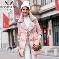 BOSIDENG abajo cubre medio-largo abajo chaqueta de las mujeres ropa de las mujeres gruesas de invierno cálido parka con muesca solapa grande collar B1601532
