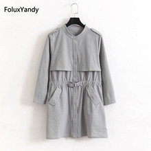 New Spring Single Breasted Trench Coat for Women Plus Size 3 4 XL Casual Thin Long Trench Outerwear KKFY1052 2018 spring new women fashion trench coat female loose cardigan stitching printing long sleeved single breasted outerwear cx88