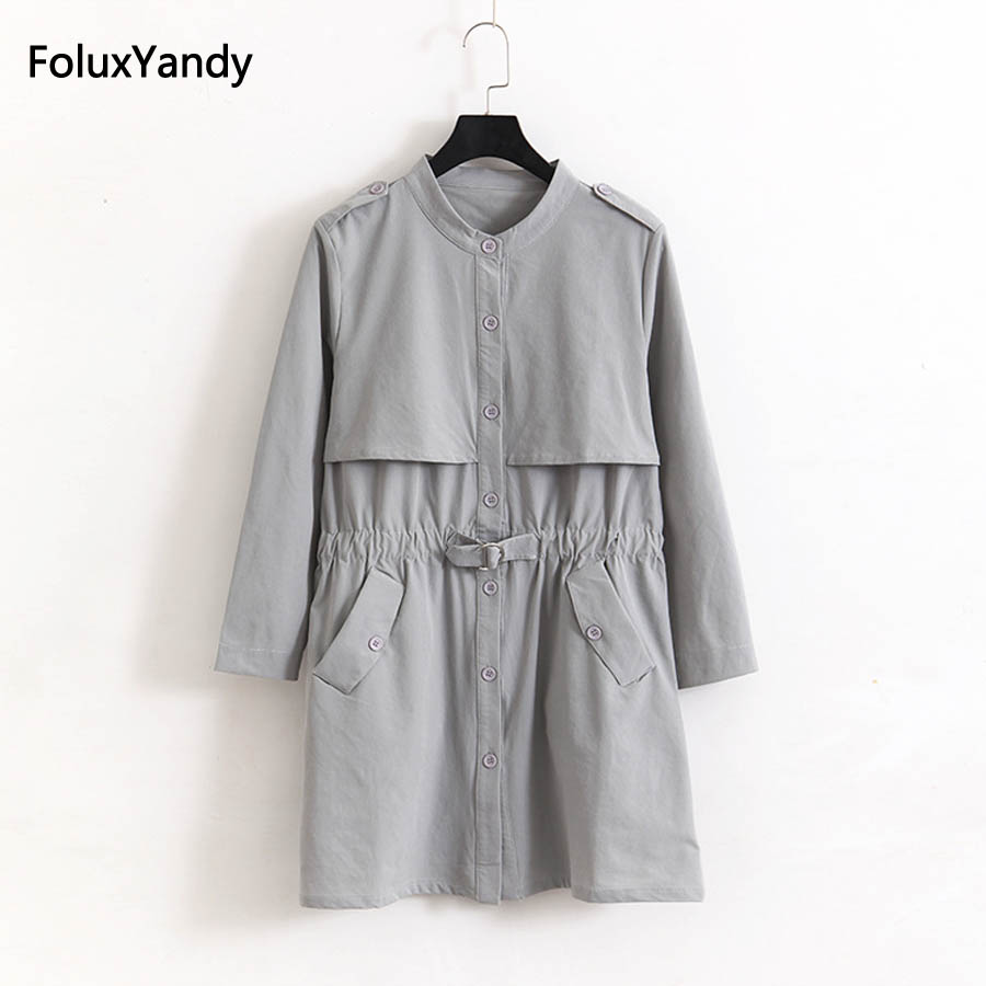 New Spring Single Breasted   Trench   Coat for Women Plus Size 3 4 XL Casual Thin Long   Trench   Outerwear KKFY1052