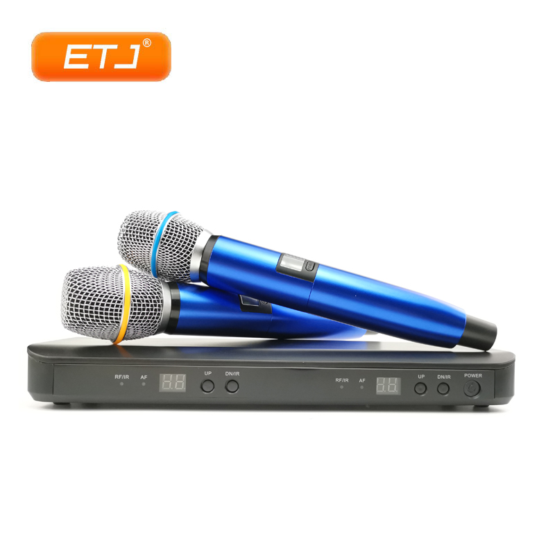 0c3b35f263e Excellent UHF Wireless Microphone AK288 2 Handheld Transmitter Vocal  Karaoke Mic