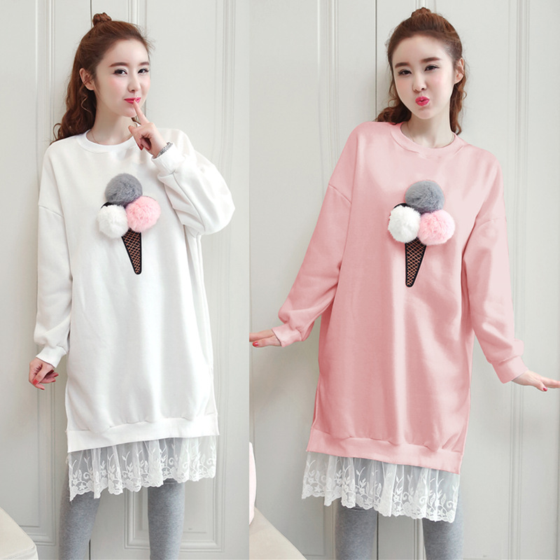 Womens autumn and winter dress cute sweet Pregnant women dress spring thickening large size
