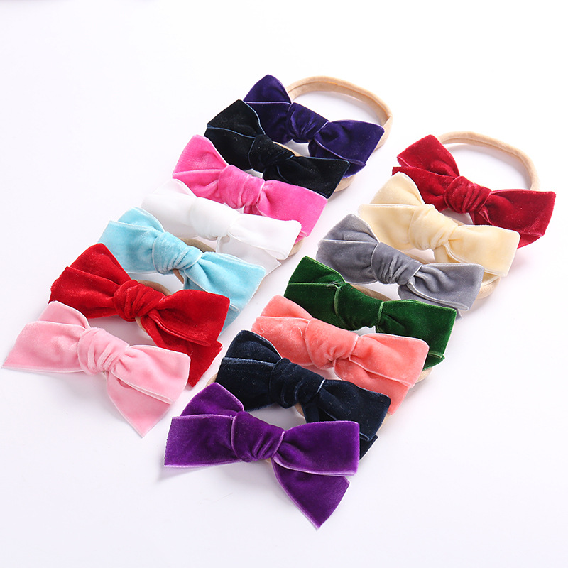 Newborn Baby Velvet Headbands Baby Girls Bow Hair Bands Head Bands Elastic Soft Girls Hairbands For Toddler Hair Accessories 7 fashion boutique grosgrain ribbon organza breast cancer printed cheer bow with elastic hair bands for cheerleading girls
