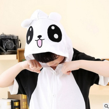 Summer day short-sleeved cartoon animal childrens pajamas pure cotton panda home to take the lovely spring and autumn male girl