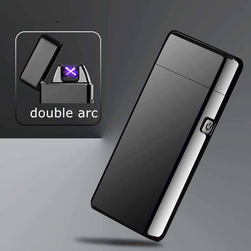 Novelty Usb Rechargeable Electric Arc pulse Personalized Cross Double Pulse Slim Lighter No Gas Smokeless