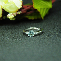 925 silver sterling aquamarine Ring fashion gift for women jewelry heart Open ring