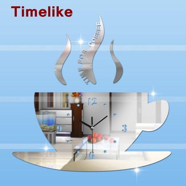 Diy Горячая 3d Акриловое Зеркало Настенные Часы чашка кофе большой часы современный дизайн роскошный 3d зеркало часы часы