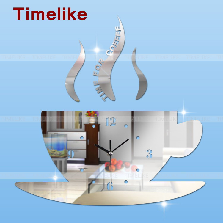 Diy Hot 3d acrílico espejo reloj de pared taza de café reloj grande - Decoración del hogar