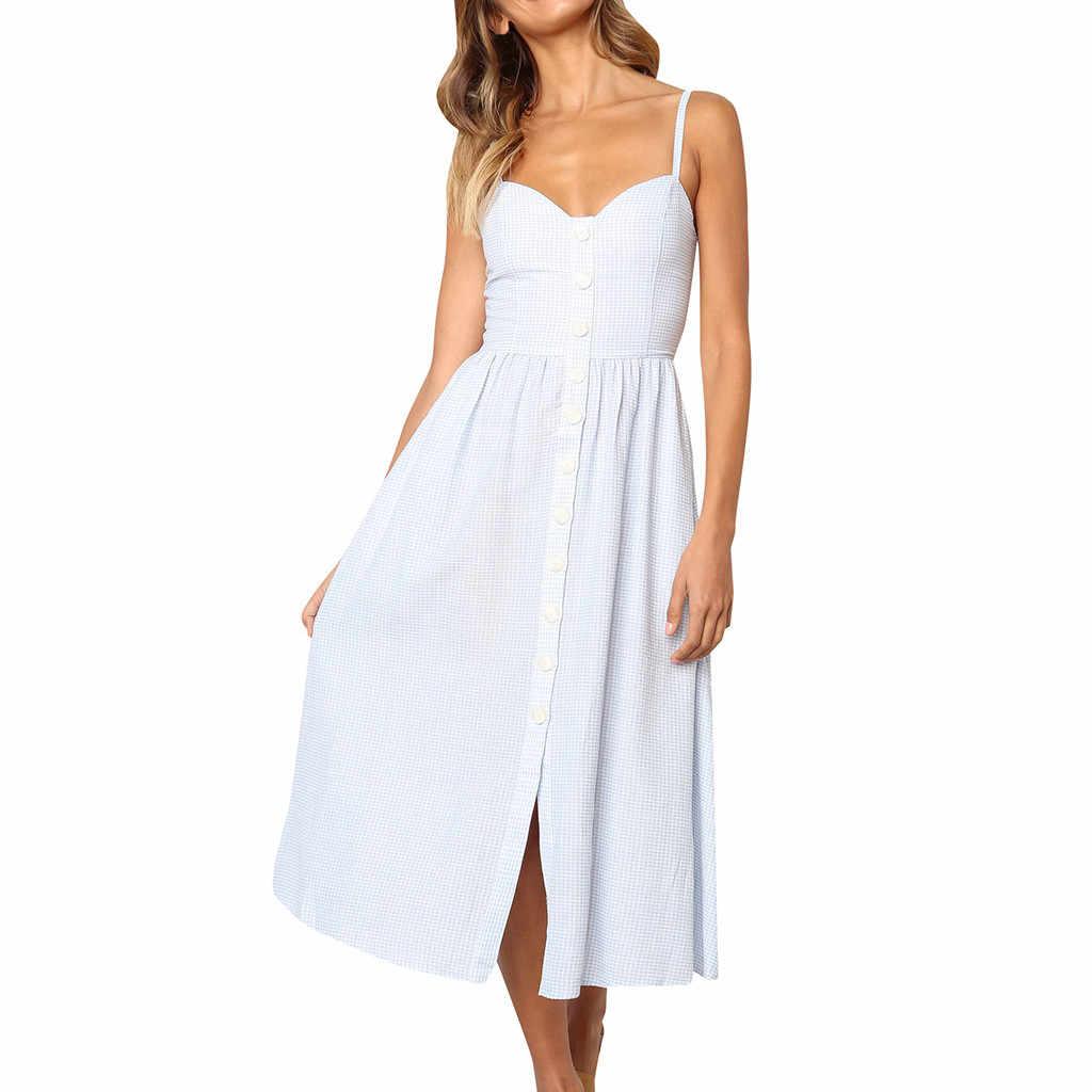 Женская Vestidos De Verano клетчатая печать богемные спагетти кнопка для ремешка летнее женское платье вниз качели Миди платье