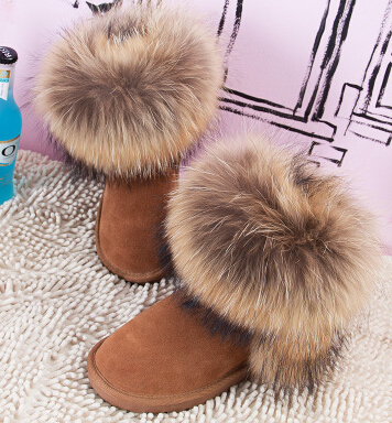 100% Genuine Leather Muleshoe Cattle Fur On Oversized Real Fox Fur Snow Boots Knee-high Cow Muscle Boots Women Winter Shoes