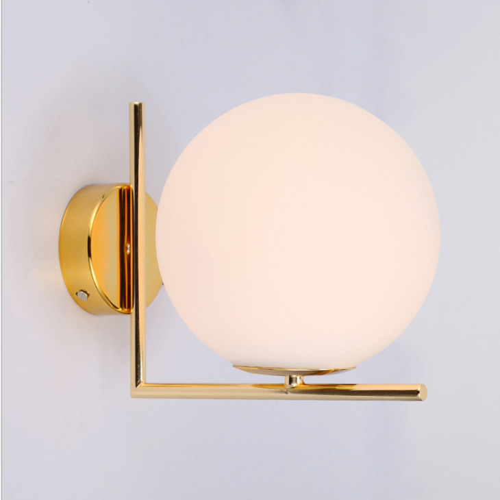 Simple and modern led wall lamp Nordic bedroom bedside lamp glass lamp shade corridor living room modern circular wall lamp E27 american village wall lamp nordic bronze glass bird living room bedroom bedside lamp